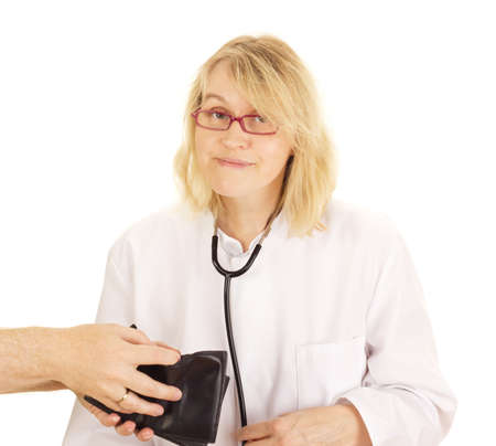 accepts: A medical doctor accepts funds Stock Photo