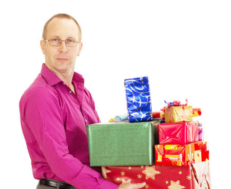 Business person with a lot of gifts photo