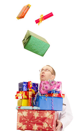 A doctor catching a lot of gifts photo