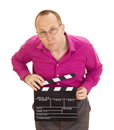 A male business person with a clapperboard photo