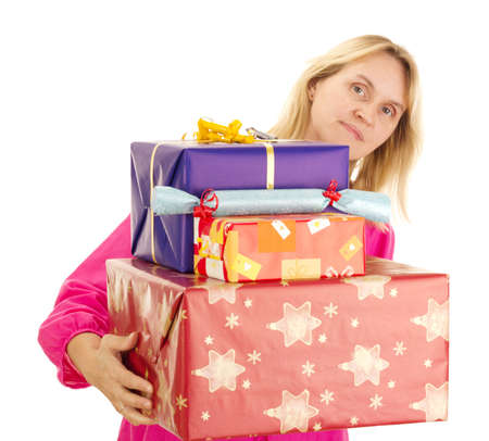 Female person with a lot of gifts photo