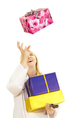 Medical doctor catching a big gift photo