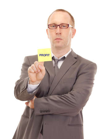 removable: Business person showing removable note