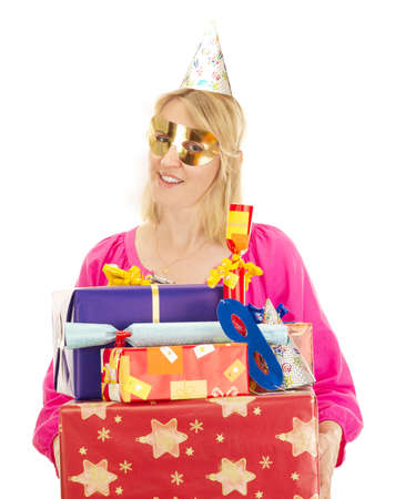 Woman with a lot of gifts photo