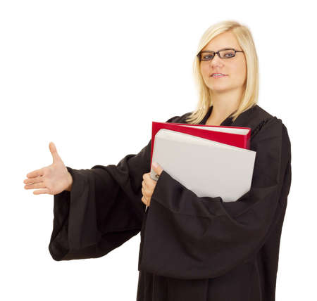 Lawyer ready for the next lawsuit Stock Photo
