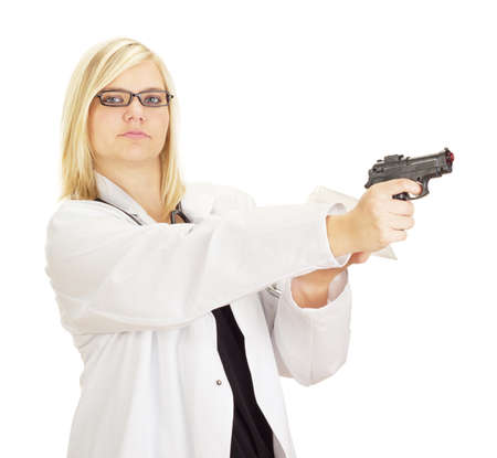 Medical doctor with a gun and drugs Stock Photo - 15530400