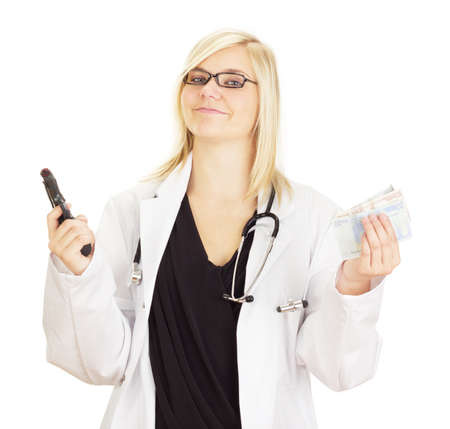 Medical doctor with a gun and money photo