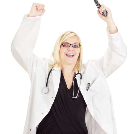 Medical doctor with a gun photo