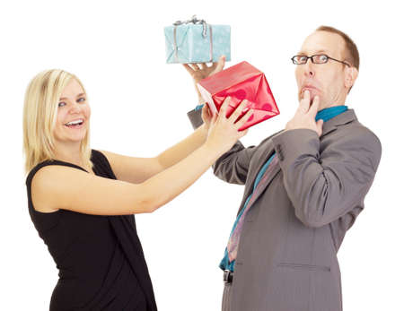 Two business people throwing their gifts Stock Photo