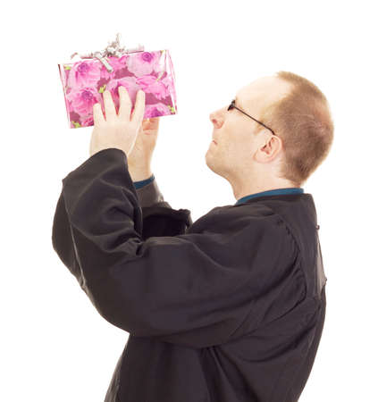magistrate: Lawyer throwing a colorful gift Stock Photo