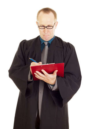 magistrate: Lawyer with a red clipboard Stock Photo