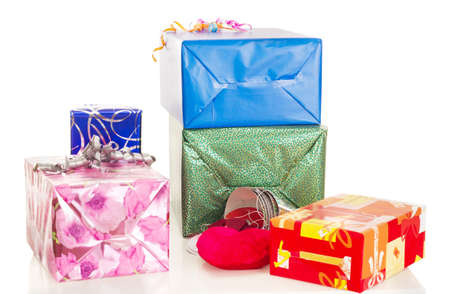 Beautiful and colorful gifts on the table photo