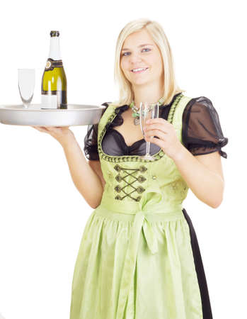 alcohol server: Young waitress with a tray Stock Photo