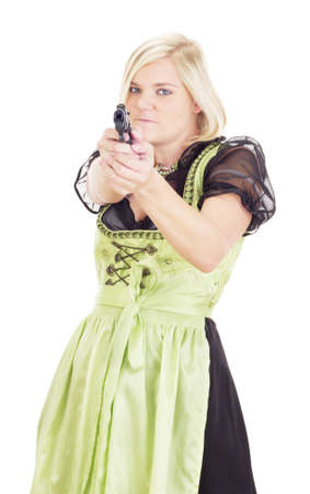 thievery: Woman having fun with a gun Stock Photo