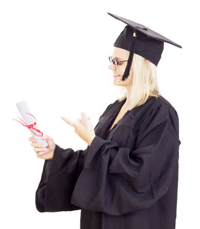 collegian: Female student with her diploma