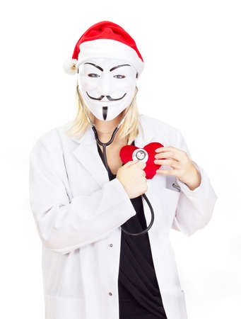 Medical doctor with a guy fawkes mask Stock Photo - 15645109