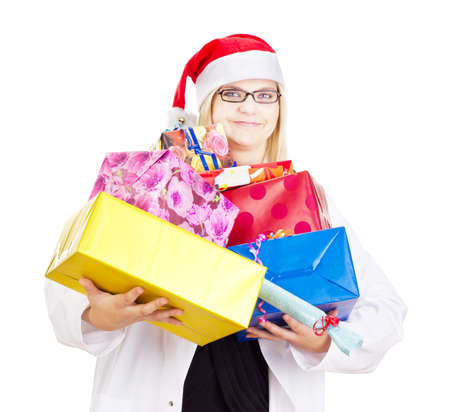 payoff: Medical doctor with a lot of christmas gifts