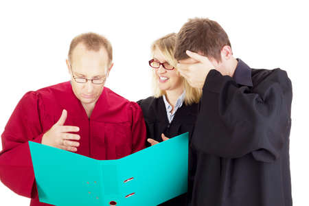 disposer: Three jurists analysing some facts Stock Photo