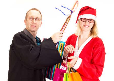 Lawyer hitting santa claus photo