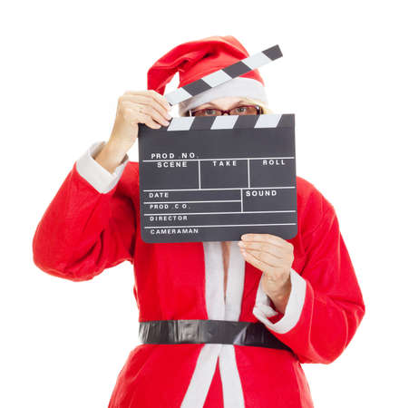 holiday movies: Santa claus with clapperboard