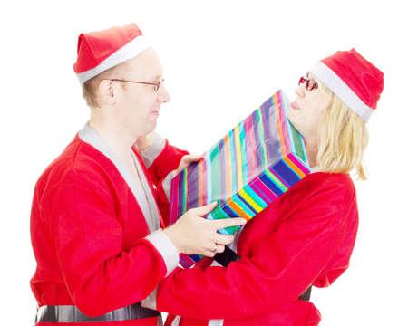 Two santas arguing Stock Photo - 15763099