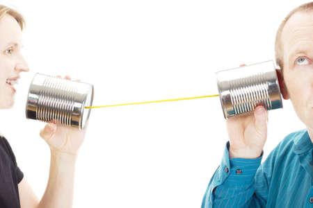 telegrama: Dos personas que tienen una conversaci�n Foto de archivo