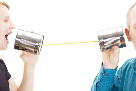 telegrama: Dos personas que tienen una conversación Foto de archivo