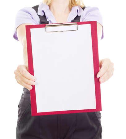 yourselfer: Craftsperson with clipboard Stock Photo