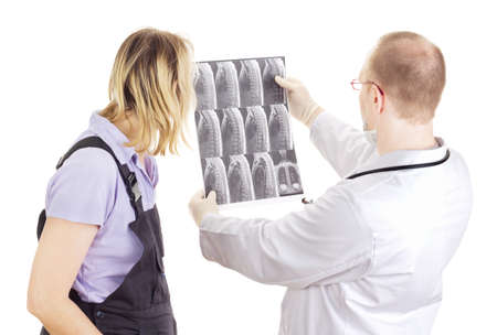 Medical doctor explains patient radiograph Stock Photo - 15763126