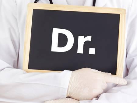 dr: Doctor shows information on blackboard: dr