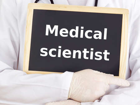 medical scientist: Doctor shows information on blackboard: medical scientist