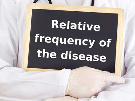 relative: Doctor shows information:  relative frequency of the disease Stock Photo