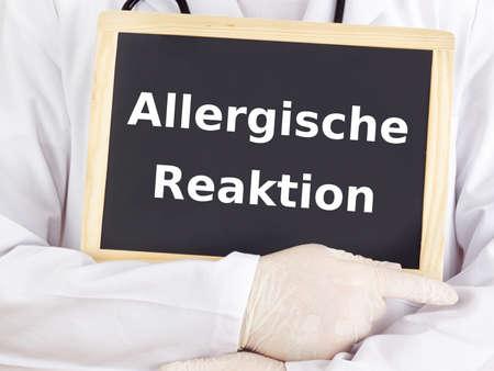 allergic reaction: Doctor shows information on blackboard: allergic reaction