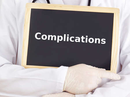 complications: Doctor shows information on blackboard: complications