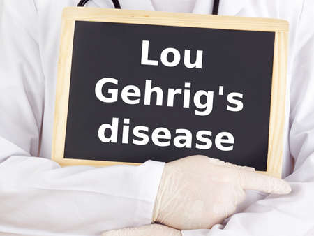 Doctor shows information: lou gehrig's disease Stock Photo - 15865108