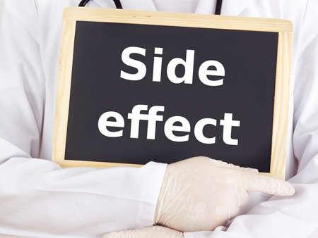 side effect: Doctor shows information on blackboard: side effect