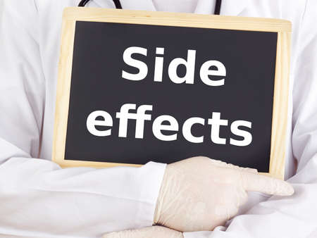 adverse reaction: Doctor shows information on blackboard: side effects