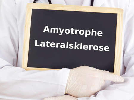 Doctor shows information: amyotrophic lateral sclerosis Stock Photo - 15865149