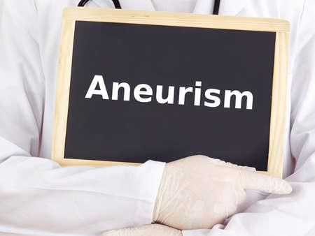 medico: Doctor shows information on blackboard: aneurism