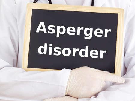 asperger: Doctor shows information: asperger disorder Stock Photo