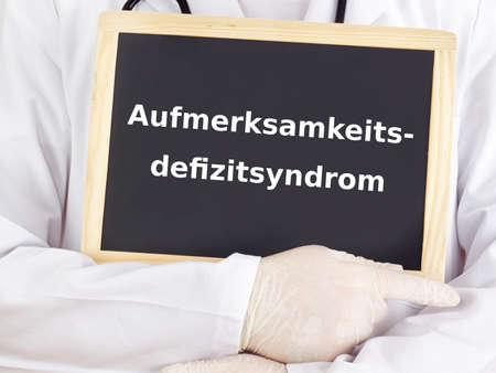 deficit: Doctor shows information: attention deficit hyperactivity disorder Stock Photo