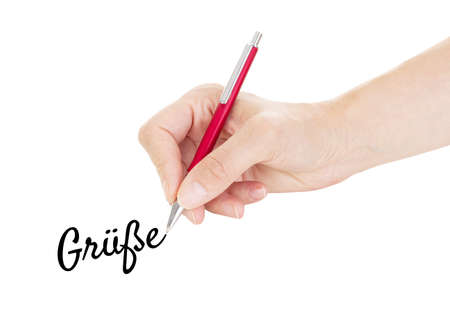 regards: Hand with pen isolated on white background Stock Photo