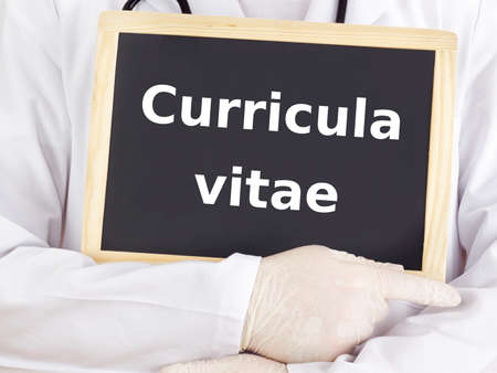 Doctor shows information: curricula vitae