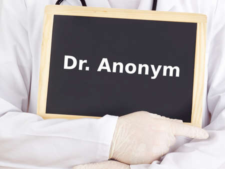 anonym: Doctor shows information on blackboard: dr anonym