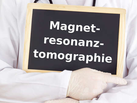 Doctor shows information: magnetic resonance imaging photo