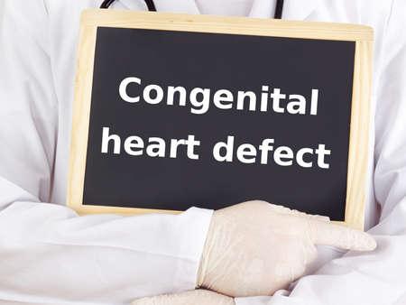 congenital: Doctor shows information: congenital heart defect