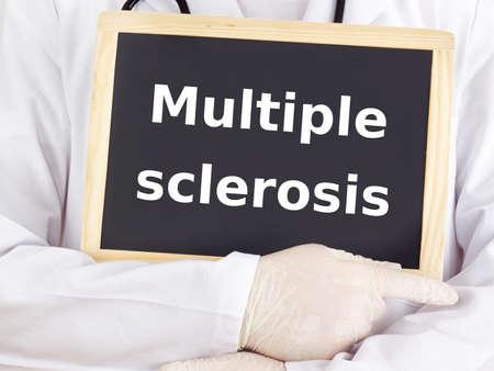 Doctor shows information: multiple sclerosis Standard-Bild