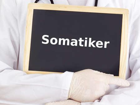 somatic: Doctor shows information on blackboard: somatic