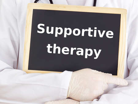 Doctor shows information: supportive therapy
