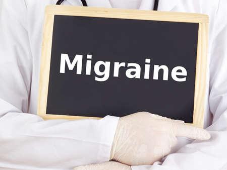Doctor shows information on blackboard: migraine Stock Photo - 16160720